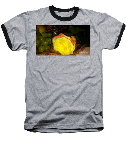 Yellow Rose And Grapes Baseball T-Shirt
