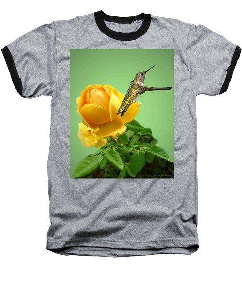 Yellow Rose And Hummingbird 2 Baseball T-Shirt