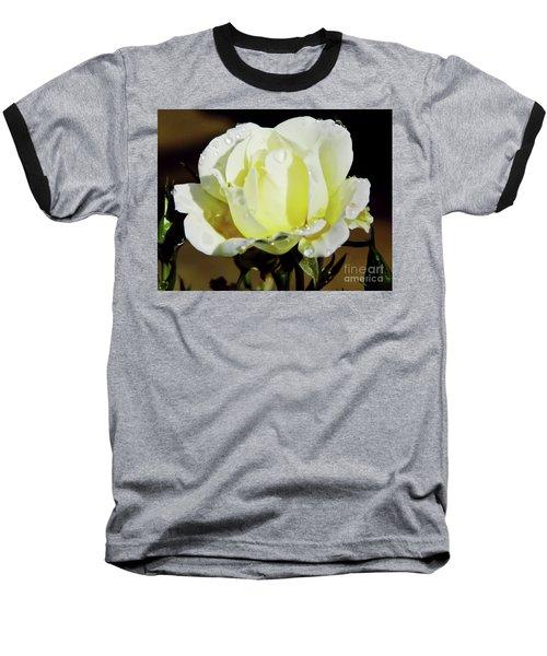 Yellow Rose Dew Drops Baseball T-Shirt