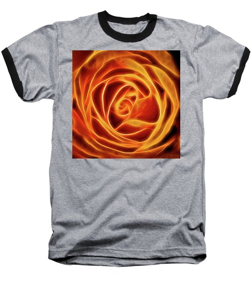 Baseball T-Shirt featuring the photograph Yellow Rose Glow Square by Terry DeLuco