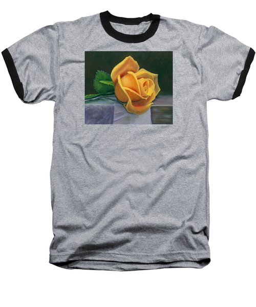 Baseball T-Shirt featuring the painting Yellow Rose by Janet King