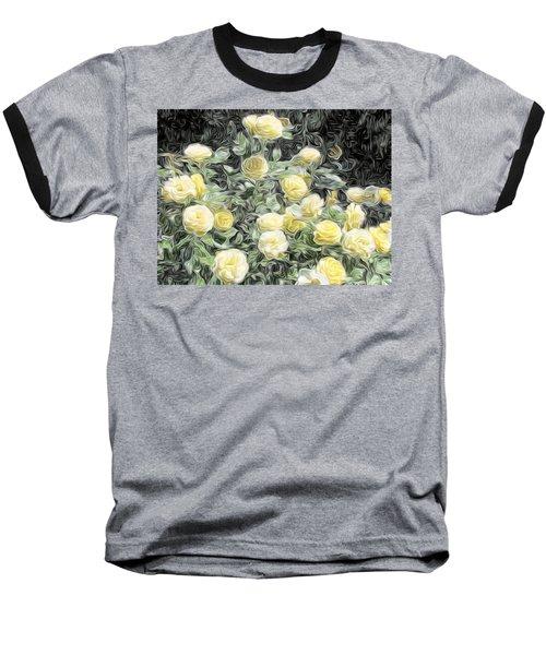 Yellow Roses Baseball T-Shirt by Carol Crisafi