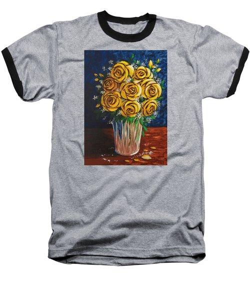 Baseball T-Shirt featuring the painting Yellow Roses by Katherine Young-Beck