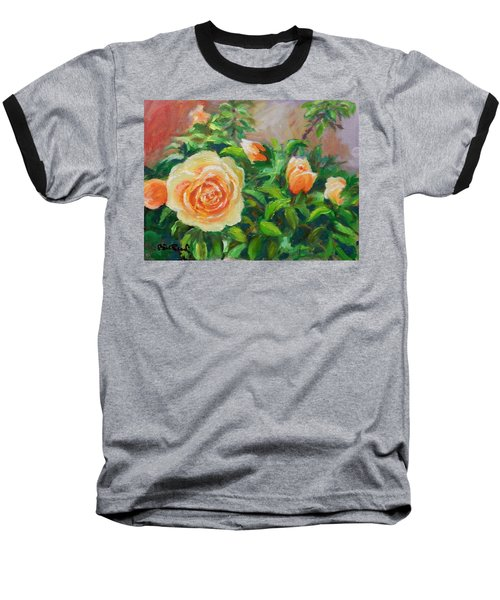 Yellow Roses Baseball T-Shirt by William Reed