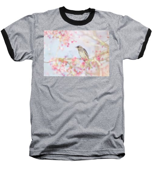 Yellow-rumped Warbler In Spring Blossoms Baseball T-Shirt