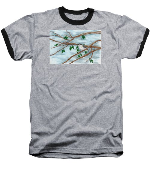 Yellow Rumped Warbler Baseball T-Shirt by Terri Mills