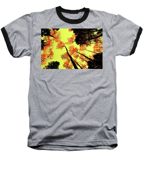 Yellow Sky, Burning Leaves Baseball T-Shirt by Kevin Munro