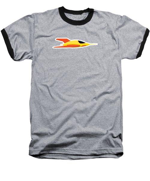 Yellow Space Rocket Baseball T-Shirt by Nathan Poland