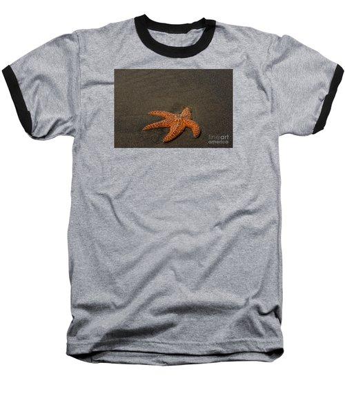 Orange Starfish On Oregon Beach Baseball T-Shirt by Chuck Flewelling