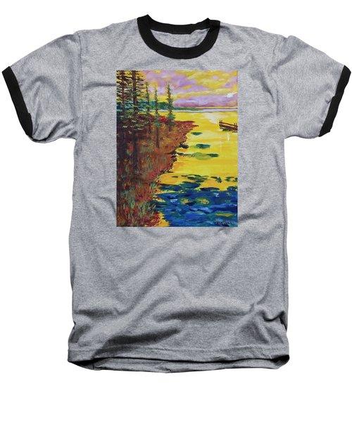 Yellow Sunset Baseball T-Shirt by Mike Caitham