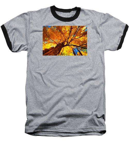 Yellow Tree Baseball T-Shirt by Andre Faubert