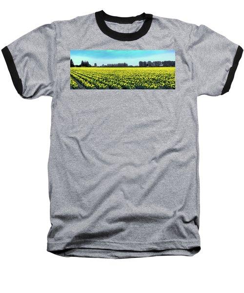 Yellow Tulip Fields Baseball T-Shirt by David Patterson
