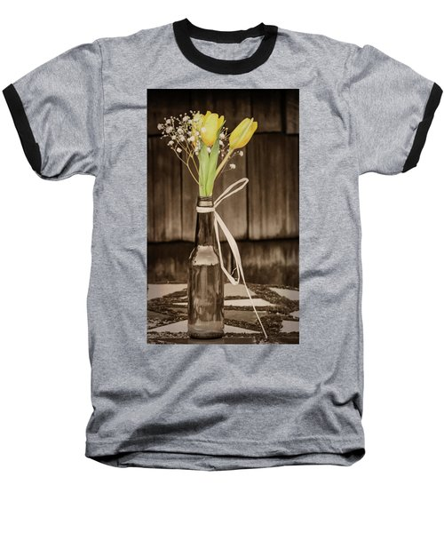 Baseball T-Shirt featuring the photograph Yellow Tulips In Glass Bottle Sepia by Terry DeLuco