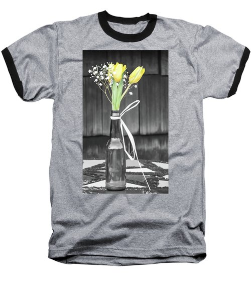 Baseball T-Shirt featuring the photograph Yellow Tulips In Glass Bottle by Terry DeLuco