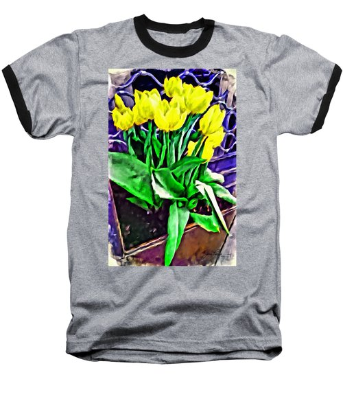 Baseball T-Shirt featuring the painting Yellow Tulips by Joan Reese