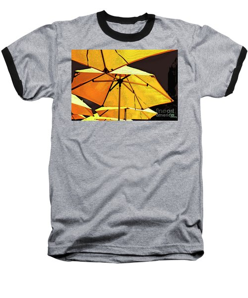 Yellow Umbrellas Baseball T-Shirt by Deborah Nakano