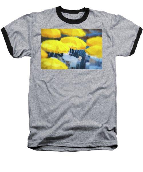 Yellow Umbrellas Baseball T-Shirt by Glenn Gemmell