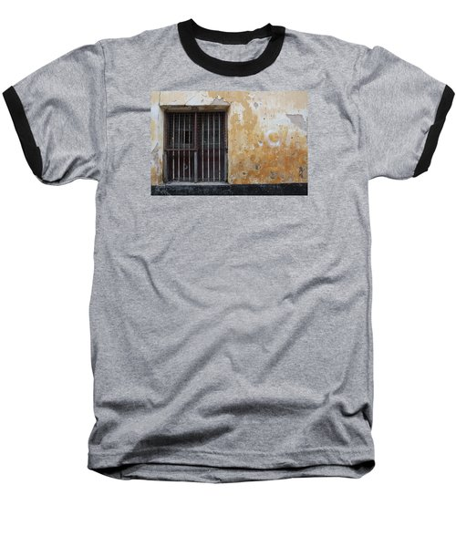 Yellow Wall, Gated Door Baseball T-Shirt by Jennifer Mazzucco