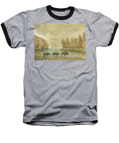 Yellowstone And Bisons Baseball T-Shirt by Juan Bosco