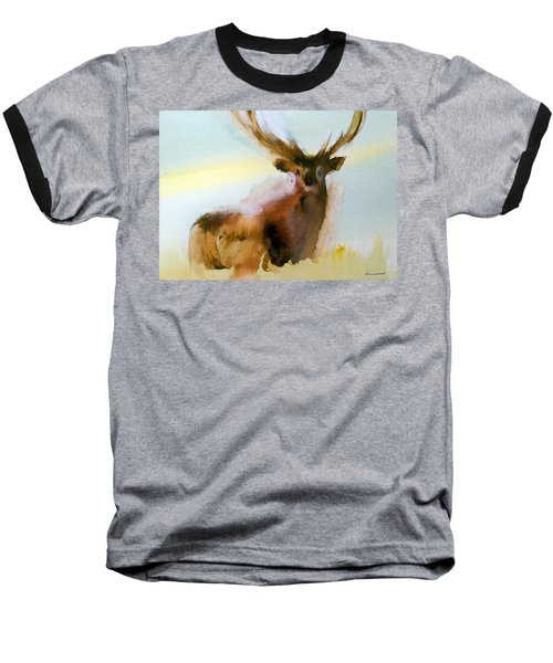 Baseball T-Shirt featuring the painting Yellowstone  Elk by Ed Heaton