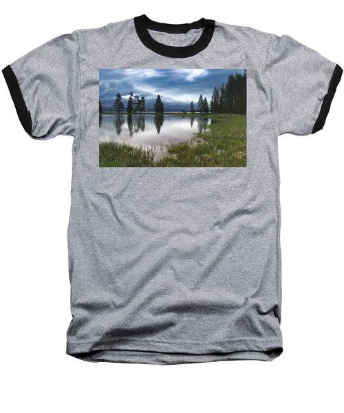 Yellowstone Lake Reflection Baseball T-Shirt