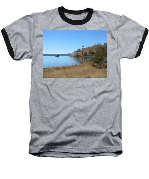 Baseball T-Shirt featuring the digital art Yellowstone Lake Se by Gary Baird