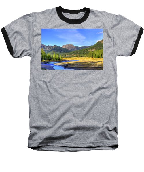 Yellowstone National Park Landscape Baseball T-Shirt