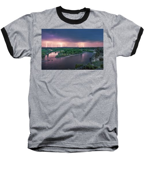 Yellowstone River Lightning Baseball T-Shirt by Leland D Howard