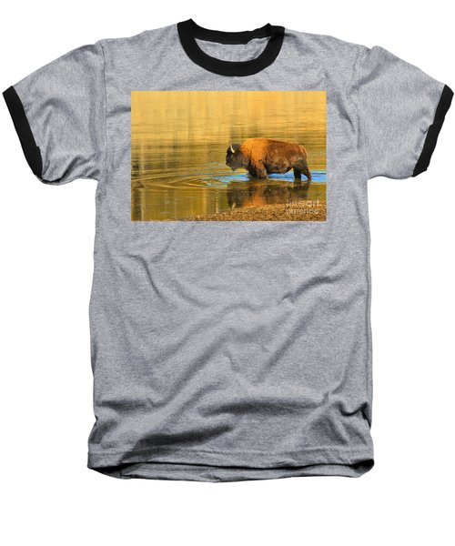 Baseball T-Shirt featuring the photograph Yellowstone Solo Swimmer by Adam Jewell