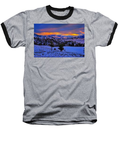 Yellowstone Winter Morning Baseball T-Shirt by Greg Norrell