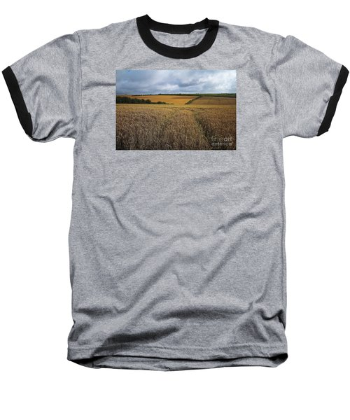 Yelow Fields And Fluffy Clouds  Baseball T-Shirt