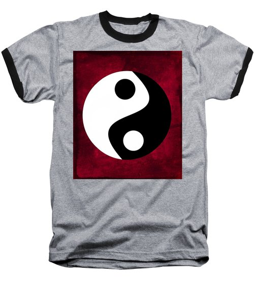 Yin And Yang - Dark Red Baseball T-Shirt