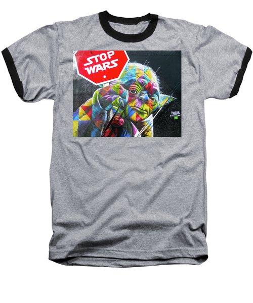 Yoda - Stop Wars Baseball T-Shirt