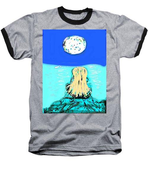 Yoga By The Sea Under The Moon Baseball T-Shirt