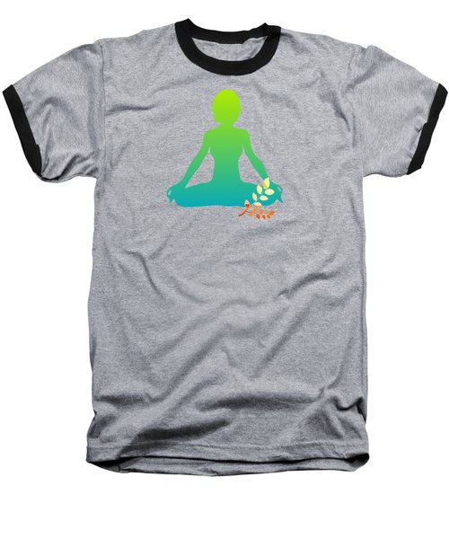Yoga Meditation Pose Abstract Illustration Baseball T-Shirt