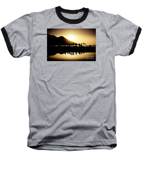 Yoga Sunrise At Sea Coast Baseball T-Shirt
