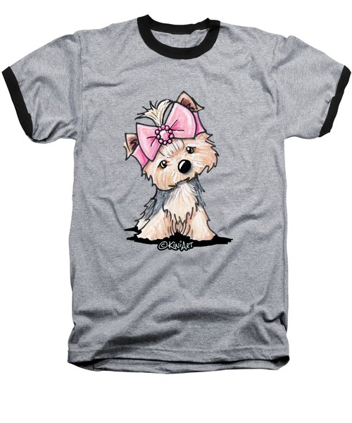 Yorkie In Bow Baseball T-Shirt