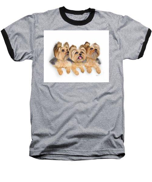 Yorkie Trio Baseball T-Shirt