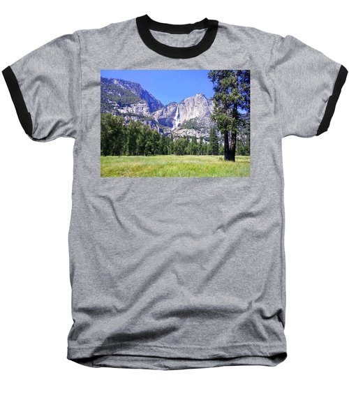Yosemite Valley Waterfall Baseball T-Shirt