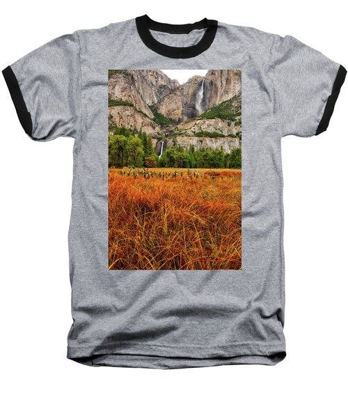 Yosemite Falls Autumn Colors Baseball T-Shirt