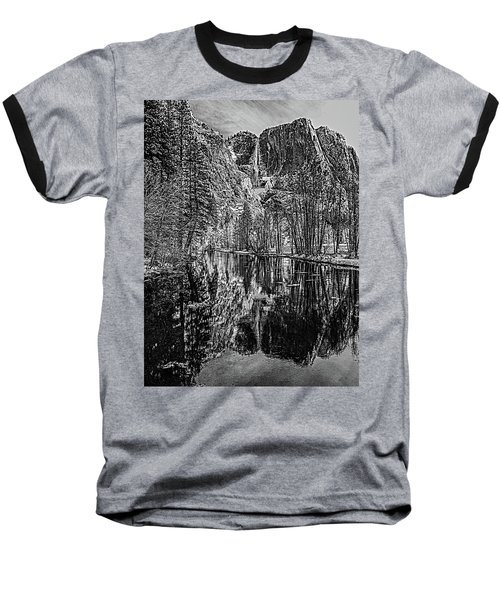 Baseball T-Shirt featuring the photograph Yosemite Falls From The Swinging Bridge In Black And White by Bill Gallagher