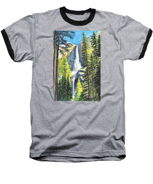 Yosemite Falls Watercolor Painting Baseball T-Shirt