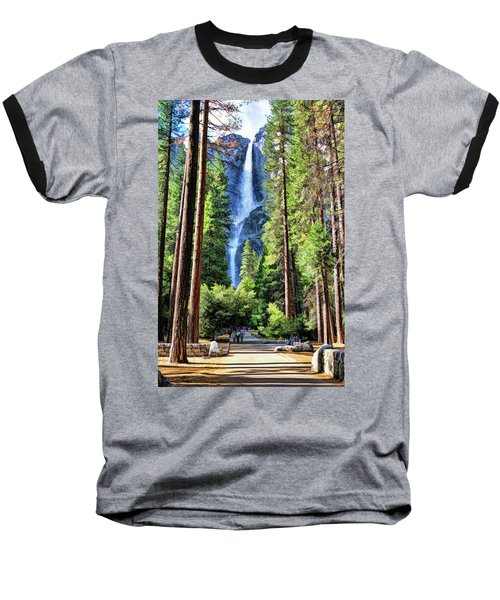 Baseball T-Shirt featuring the painting Yosemite National Park Bridalveil Fall Trees by Christopher Arndt