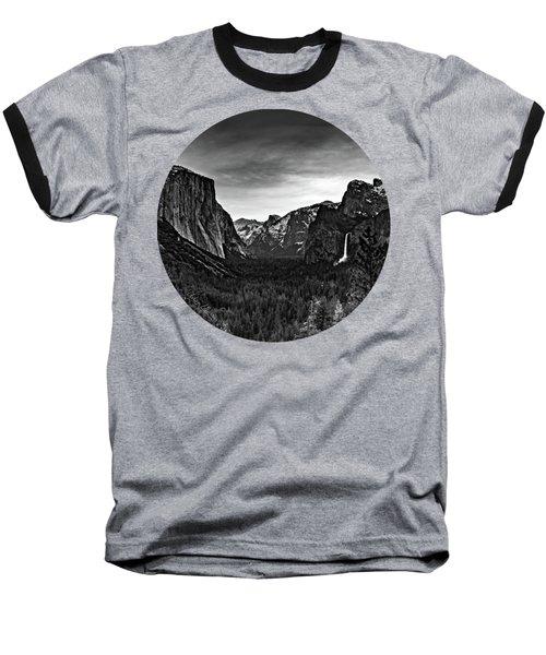 Yosemite Sunrise, Black And White Baseball T-Shirt