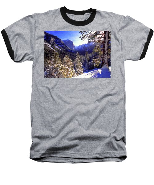 Yosemite Valley In Winter, California Baseball T-Shirt