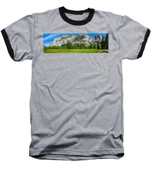Yosemite Valley Meadow Panorama Baseball T-Shirt