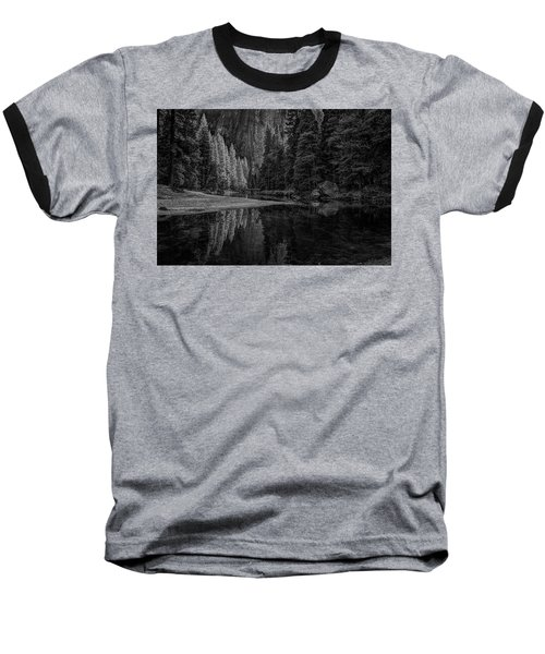 Yosemite Valley Reflactions Bw Baseball T-Shirt