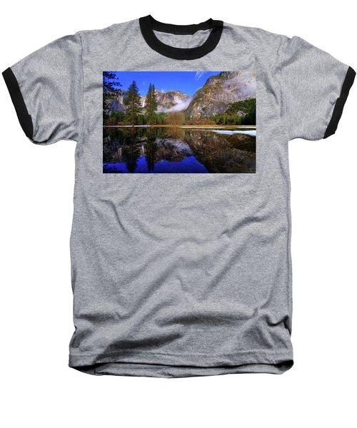 Yosemite Winter Reflections Baseball T-Shirt