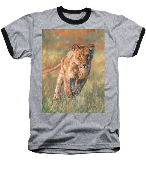 Baseball T-Shirt featuring the painting Youn Lion by David Stribbling