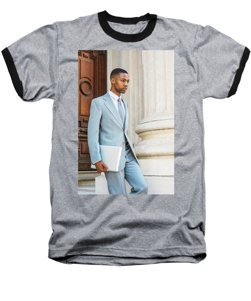 Young African American Businessman Working In New York Baseball T-Shirt